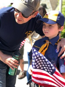 Dad and Son in Cub Scout Uniform with American Flag, Why Dads Matter, MomCaveTV