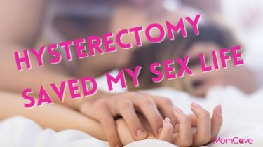 sex after hysterectomy surgery couple clasping hands in bed with text hysterectomy saved my sex life