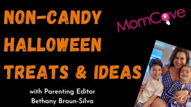 non-candy Halloween treats photo of mom and smiling kids