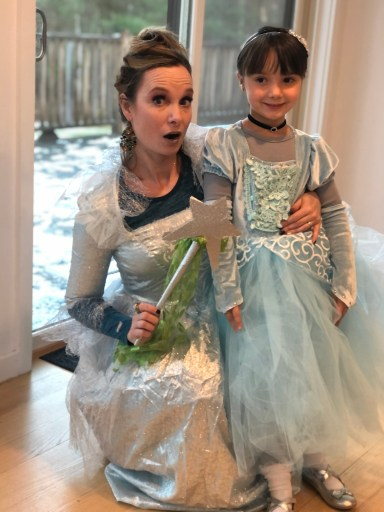 Mom and Daughter dressed as Cinderella and Fairy Godmother as example of non-candy Halloween treats and activities for kids MomCave