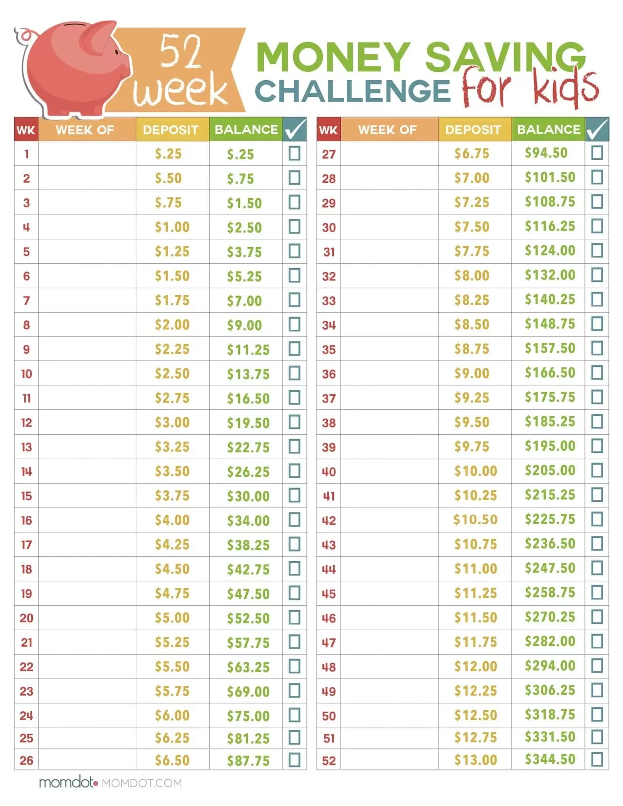 52 Week Money Challenge For Kids