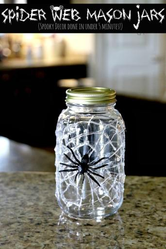 spider web mason jars