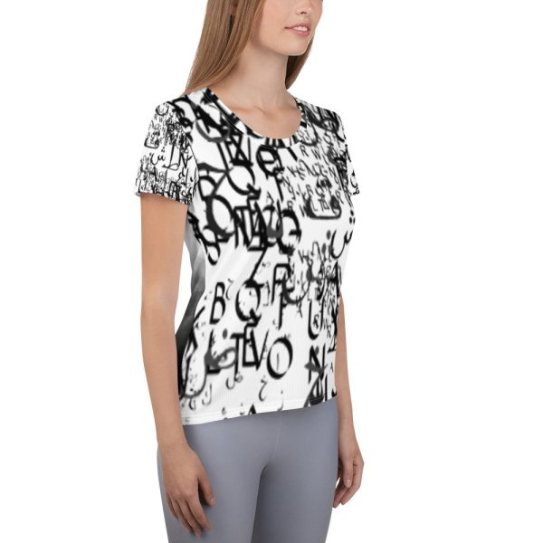 abstract typography -1 -All-Over Print Women's Athletic T-shirt-03