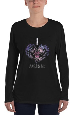 I love Music -Ladies' Long Sleeve T-Shirt-01