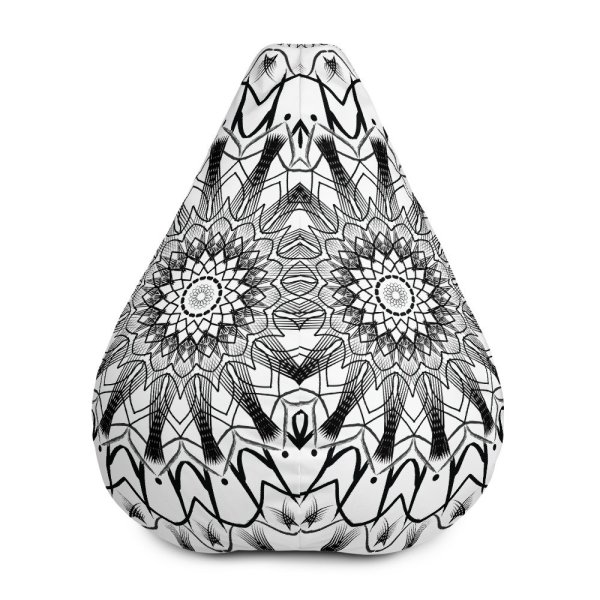 pattern mandala 01 -All-Over Print Bean Bag Chair w-filling-black-on-white-01