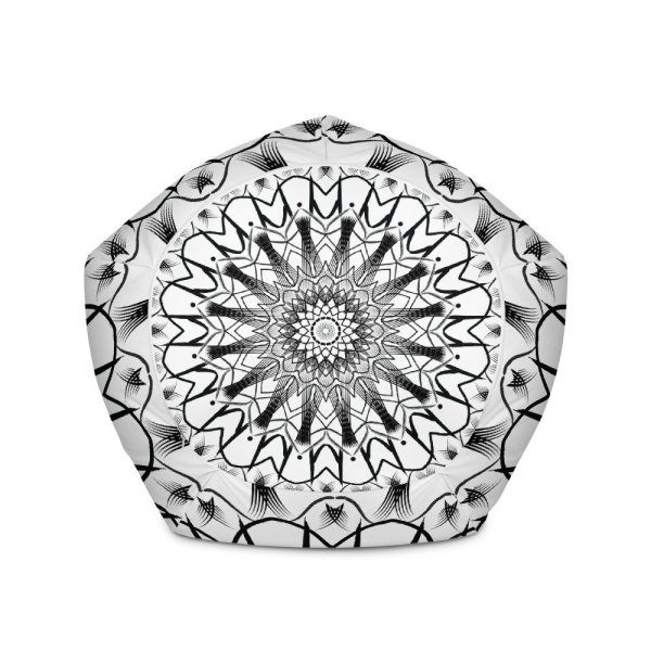 pattern mandala 01 -All-Over Print Bean Bag Chair w-filling-black-on-white-05