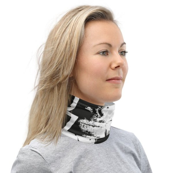 Abstract Typography 2 Neck Gaiter Front Mens White Neck