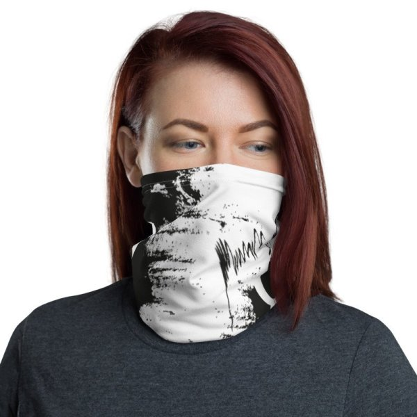 Abstract Typography 2 Neck Gaiter Front Women White