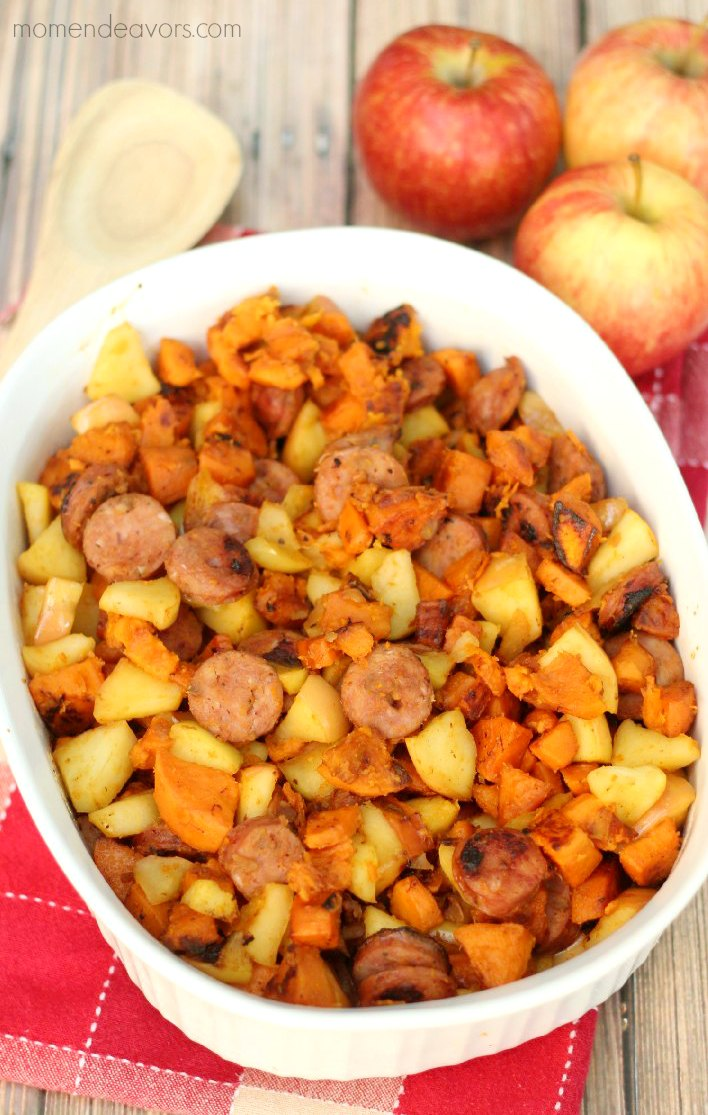 One Pan Paleo Chicken Apple Sausage Amp Sweet Potato Skillet