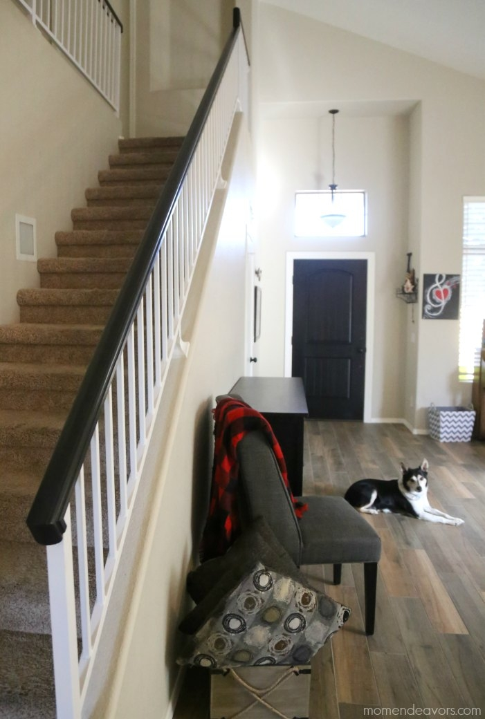 How To Paint An Oak Banister Black Mom Endeavors | Black Banister With White Spindles | Brazilian Cherry Stair | Victorian | Traditional Home | Iron Spindle White Catwalk Brown Railing | Gray