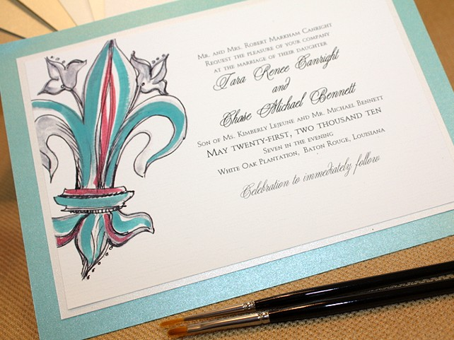 Fleur De Lis Custom Hand Painted Wedding Invitationmomental Designs