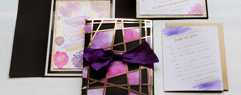 Watercolor Wedding Invites Lasercut