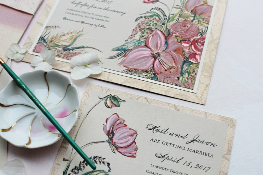 Pin It Lily Ranunculus Hand Painted Wedding Invitation