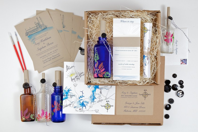 Pin It Hand Painted Message In A Bottle Wedding Invitations