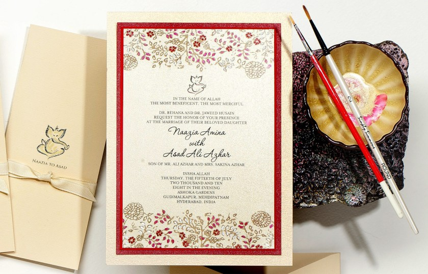 Pin It Indian Wedding Hand Painted Invitation