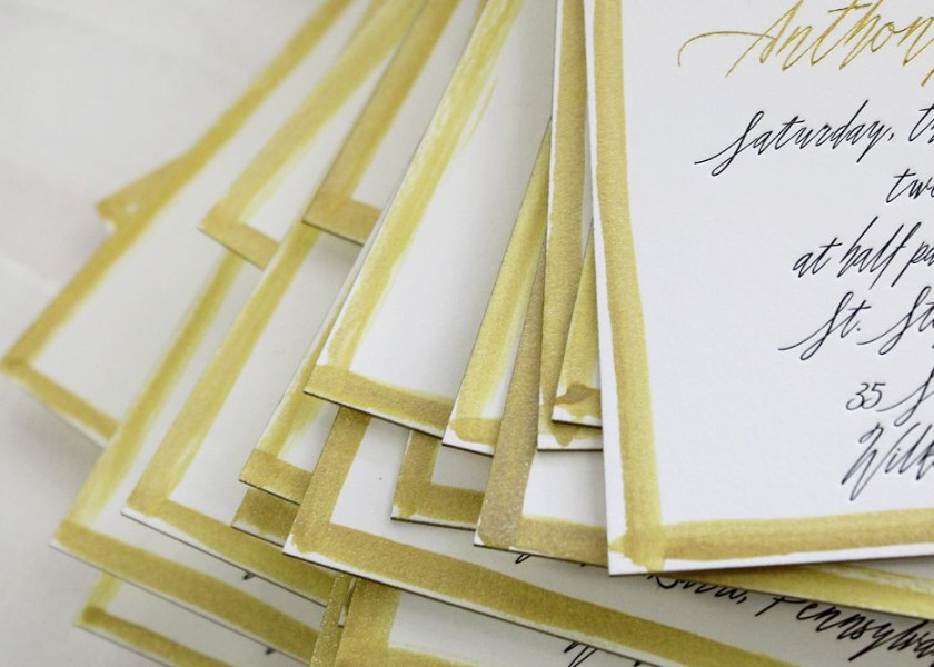 Pin It Foil Letterpress Watercolor Wedding Invitations