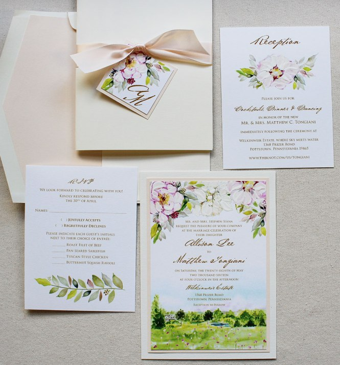 Peony Letterpress Wedding Invitations