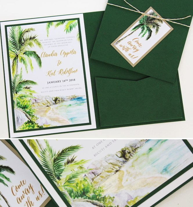 Claudia C Watercolor Palm Tree Wedding Stationerymomental