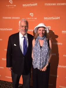 """June 11, 2015- Nadine Epstein and contributing writer Wesley G. Pippert in New York City at The Mirror Awards honoring excellence in media industry reporting. (Wes' story """"The Adelson Effect"""" was a finalist.)"""
