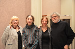 The 2013 awards ceremony for the Moment Magzine-Karma Foundation Short Fiction Contest were held at the Jewish Museum of New York on November 14th. Above from left are Sharon Karmazin of the Karma Foundation, Joyce Carol Oates, Moment editor and publisher Nadine Epstein, and NPR book critic and Moment fiction editor Alan Cheuse.