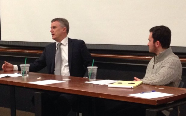 Former Bush National Security Council official Michael Doran (left) with Yale Law School student Jordan Hirsch (right) at Columbia University.