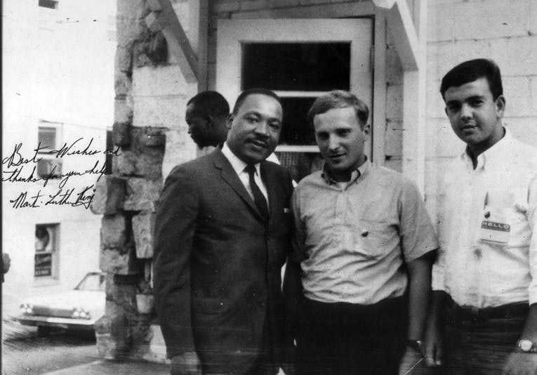 Peter Geffen and fellow civil rights worker Mickey Shur with Martin Luther King, Jr.