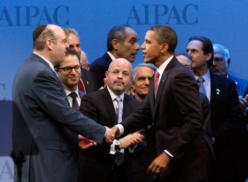 Obama shaking hands with AIPAC