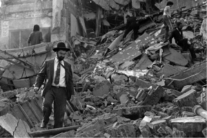The ruins left after a bomb exploded at the Argentinian Israeli Mutual Association (AMIA) in Buenos Aires, July 1994. Credit: AFP/Getty Images