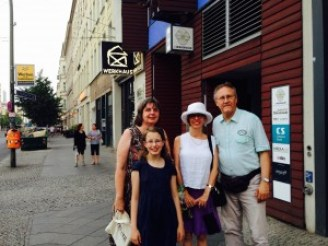 Moment editor Nadine Epstein with Christof and Dagmar and their daughter.