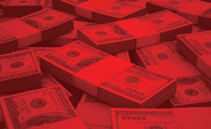 Red pile of money