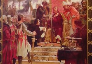 King John faces the barons at the sealing of the Magna Carta