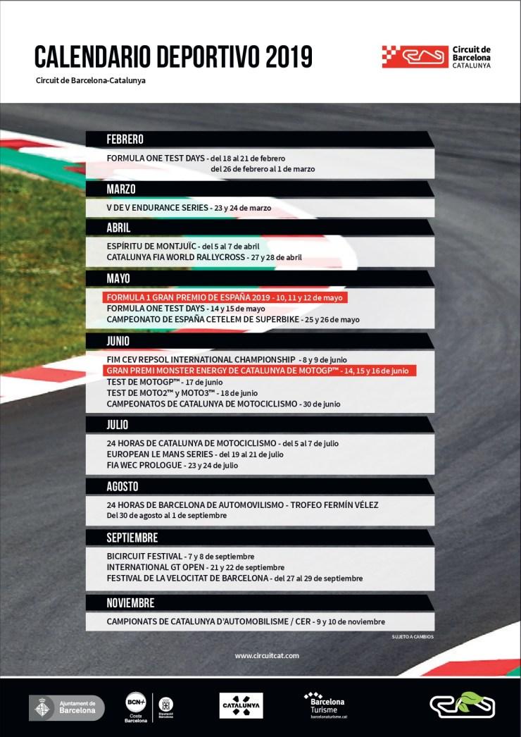 Calendario Catalunya 2020.El Circuit De Barcelona Catalunya Presenta El Calendario 2019