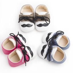 Mustache Baby Moccasin Shoes