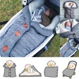Extra Large Baby Winter Knit Swaddle Sleeping Bag with Buttons