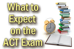 What to Expect on the ACT Exam. The ACT exam, without the Writing section, consists of four tests: English, Math, Reading, and Science. These tests consists of multiple choice questions. Students can also chose to take the ACT Plus Writing exam which includes the four tests along with an essay/writing section.