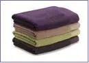 purple and slate grey towels