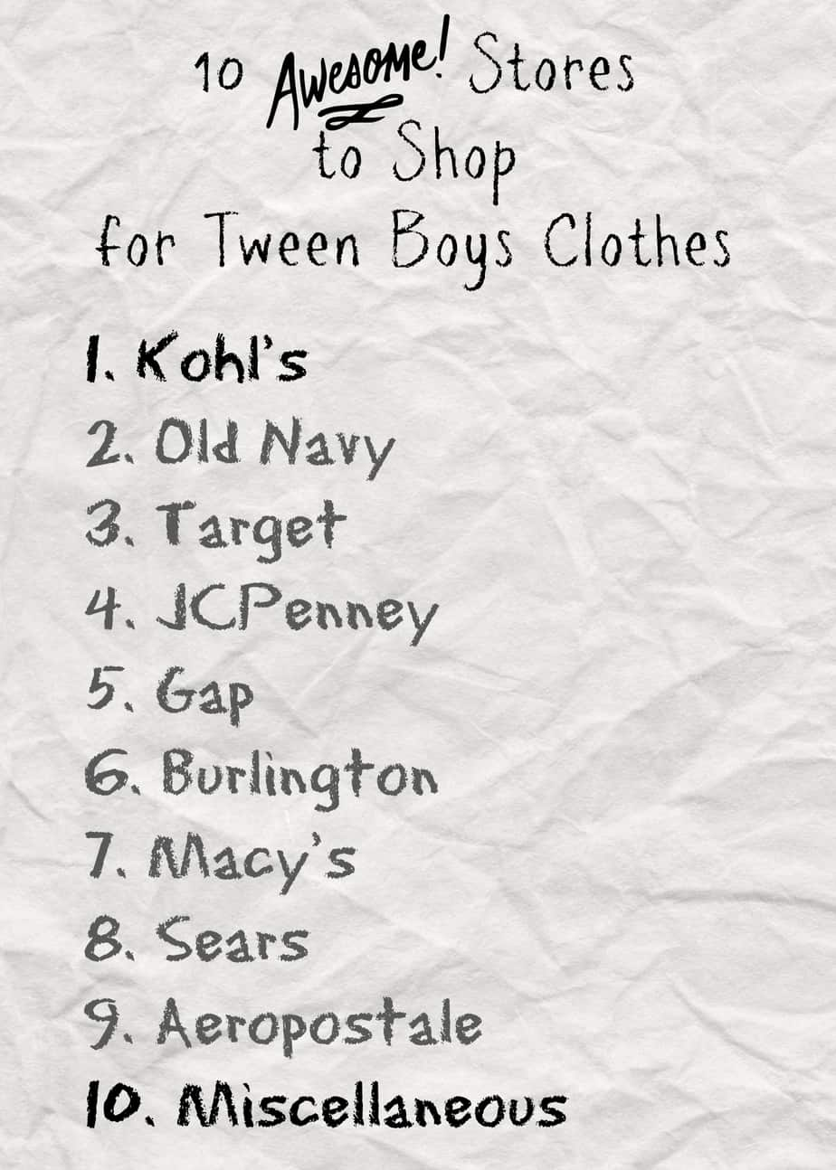 10 Stores To Shop For Tween Boys Clothes