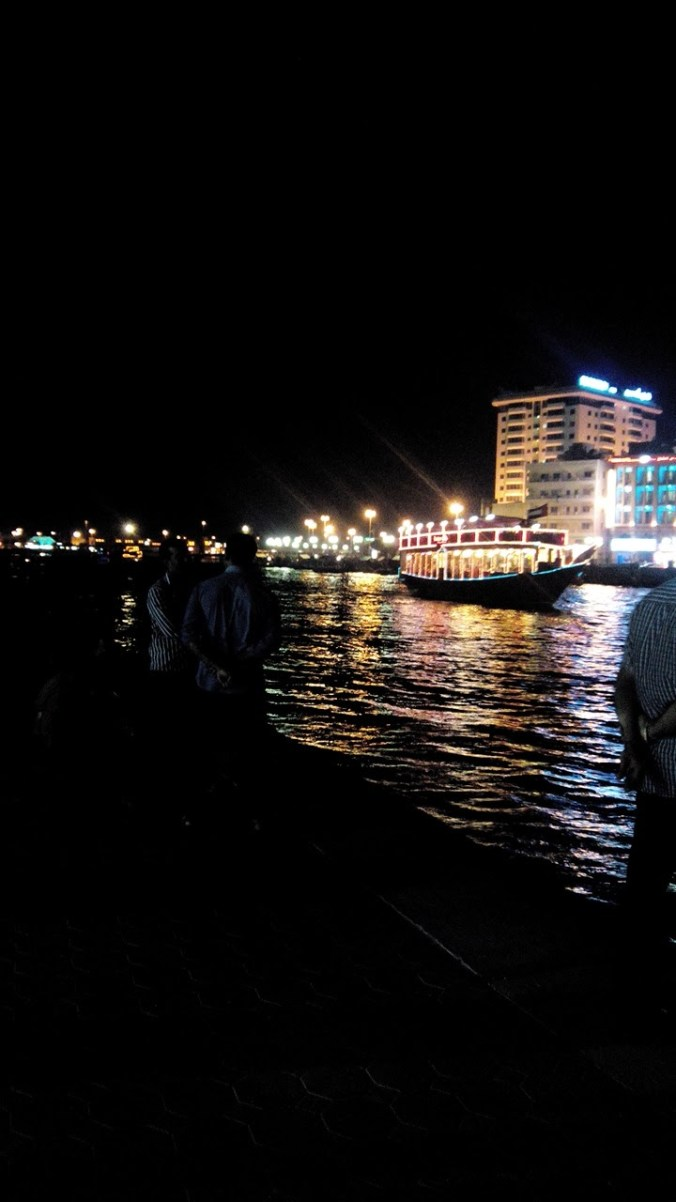 Old boat style dhow dinner cruise in UAE Dubai