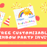 FREE Customizable Invites for DIY Rainbow B'day Party