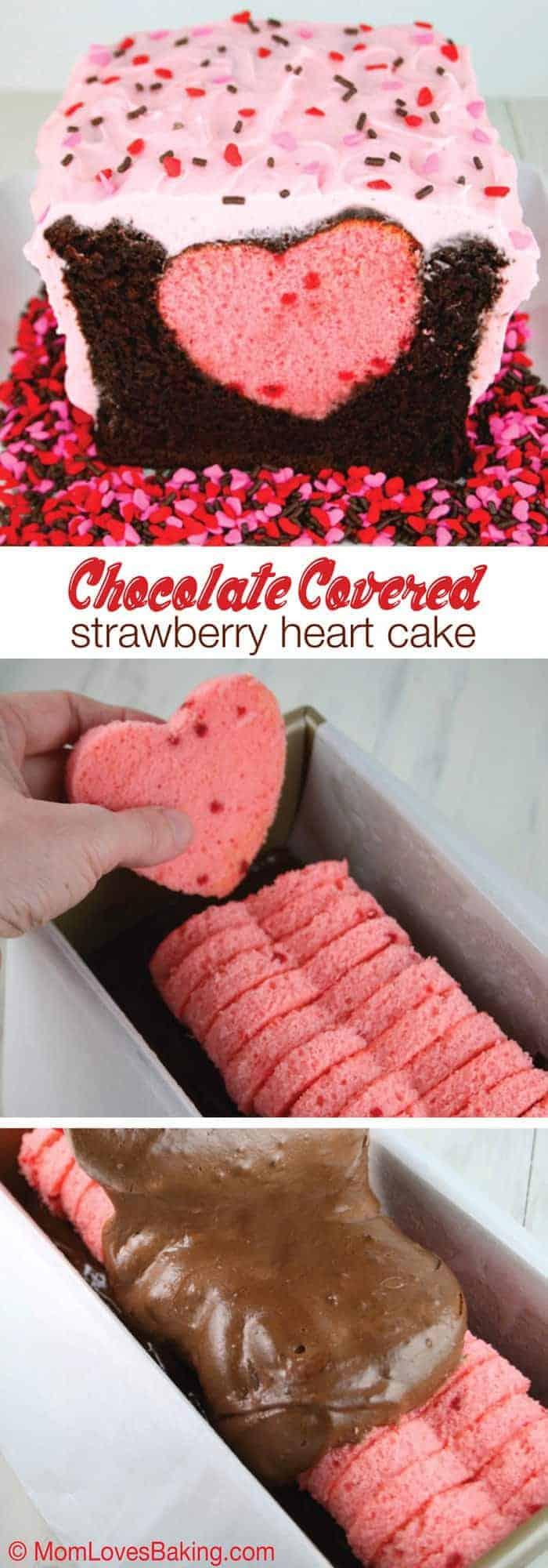 Chocolate Covered Strawberry Heart Cake Mom Loves Baking