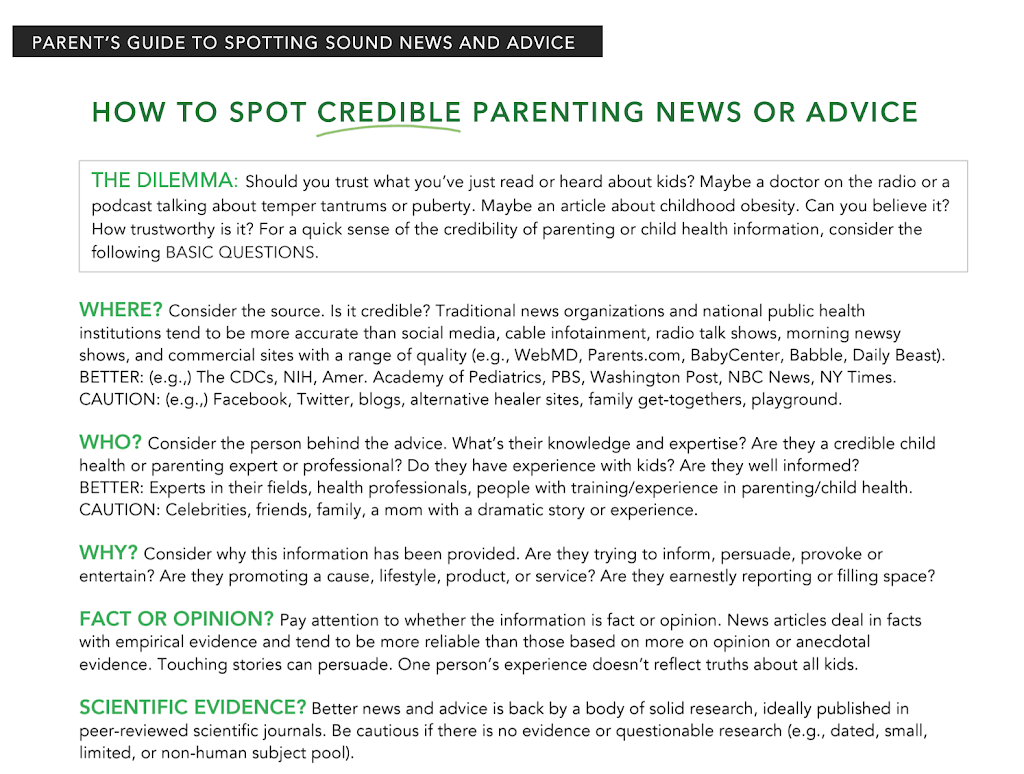 How To Spot Credible Parenting Advice: Introducing The Parent's Guide To Spotting Sound News and Advice