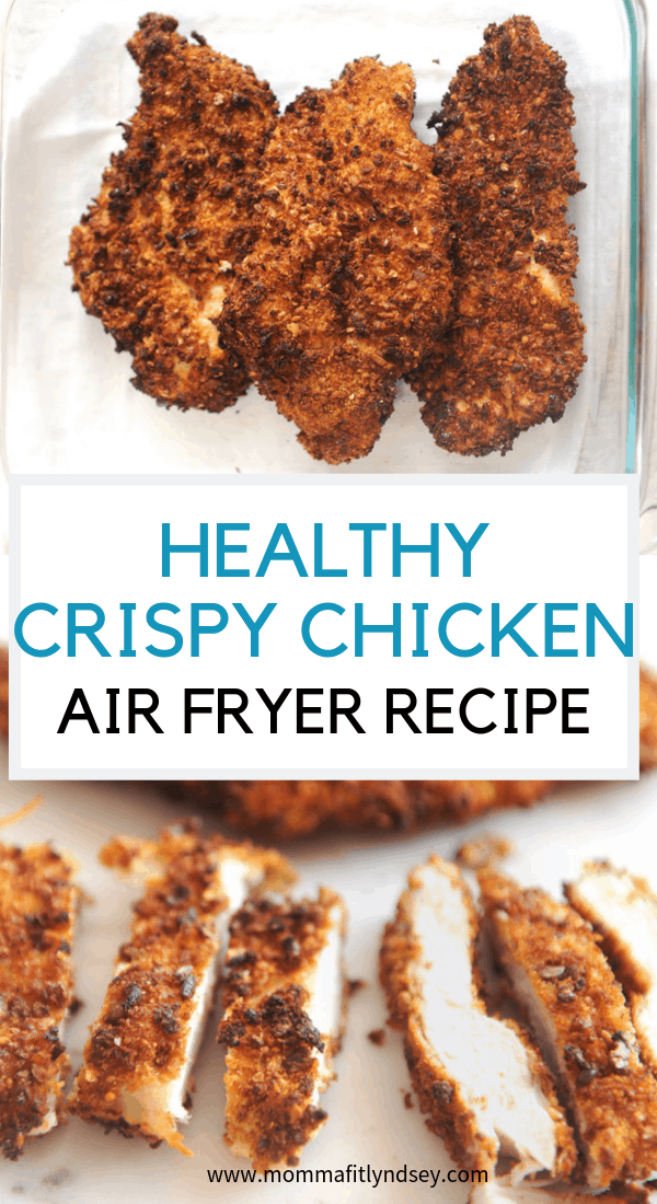 healthy fried chicken using a great air fryer recipe that makes incredible parmesan chicken that is great on a sandwich, in a salad, or eaten by itself