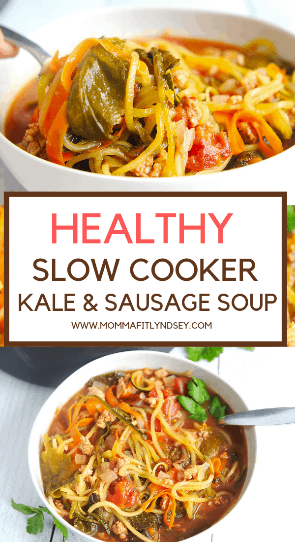 healthy & easy slow cooker soup recipe with beef broth and veggies - sausage and kale soup with zoodles