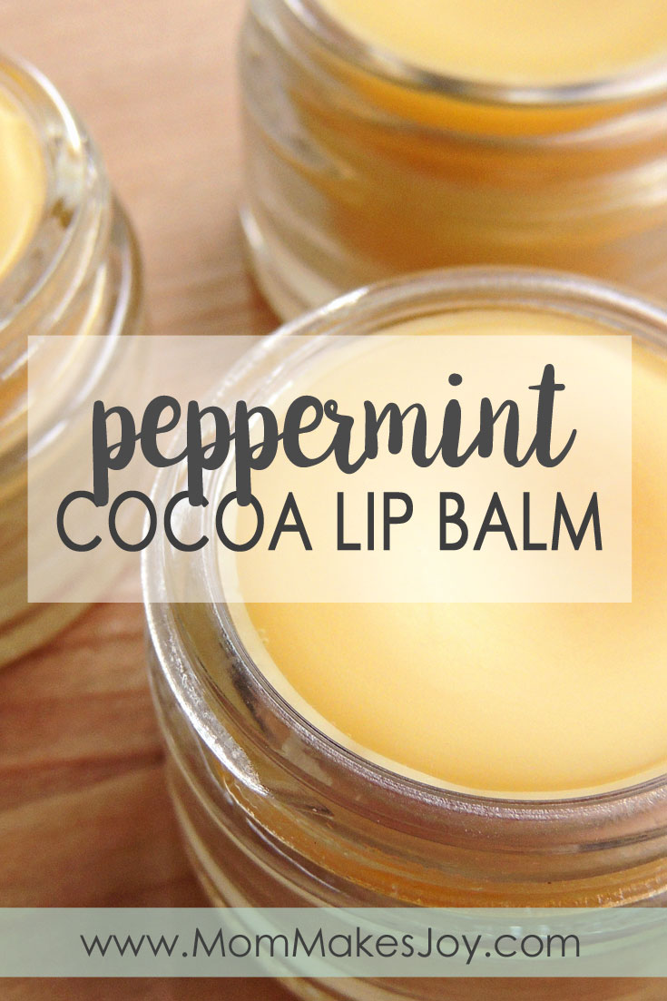 Learn how to make your own affordable, all natural peppermint cocoa lip balm using peppermint essential oil, coconut oil, cocoa butter, and beeswax. | DIY Bath and Body | Homemade Lip Balm | How to make lip balm | Mom Makes Joy