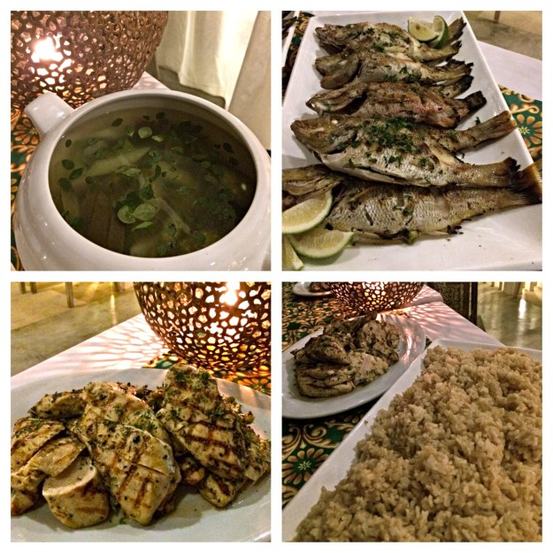 Dinner was baked fish, herbed grilled chicken, and vegetable soup done boholano style.