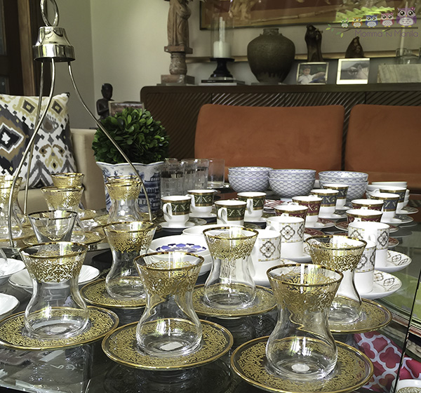 Turkish tea cups and saucers will be showcased in her trunk show this coming, Saturday.