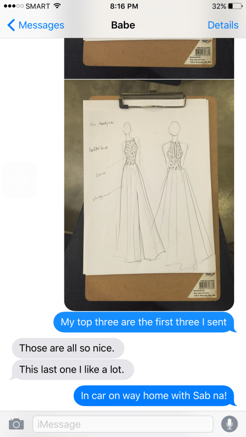 Consulting with Nino on our daughter's prom dress is made easier with photos that we can send thru iMessage or Facebook Messenger.