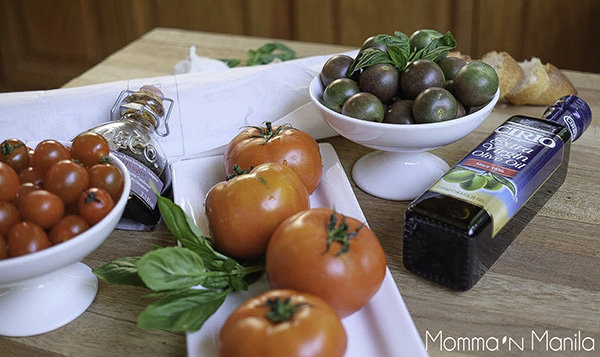All the ingredients you will need for a really great Summer salad. Just add garlic and onion!
