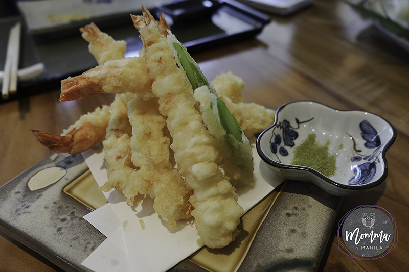Ebi Tempura served with Matcha Powder