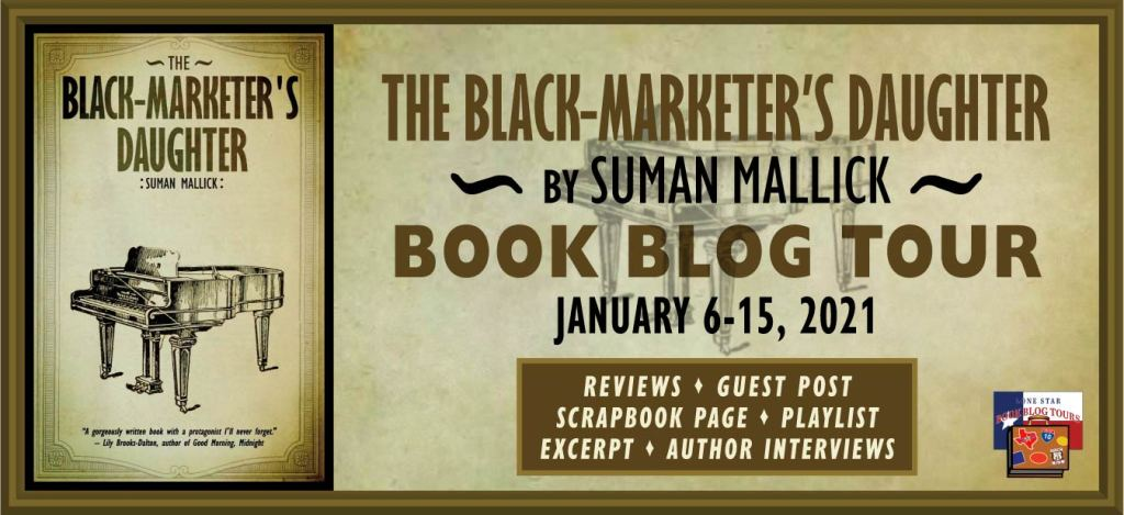 Blog tour banner for Suman Mallick The Black-Marketer's Daughter